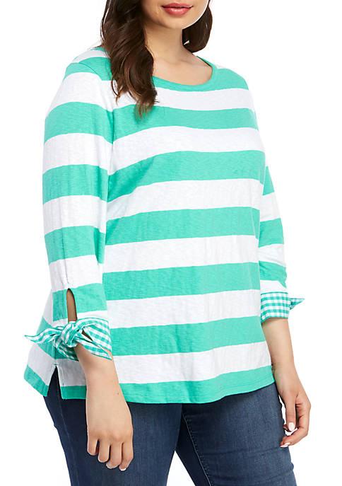 Crown & Ivy™ Plus Size 3/4 Sleeve Stripe