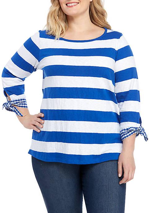 Plus Size 3/4 Sleeve Stripe T Shirt