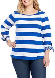 Crown & Ivy™ Plus Size 3/4 Sleeve Stripe T Shirt