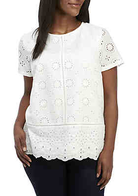 b293e7f566 Crown   Ivy™ Plus Size Short Sleeve Eyelet ...