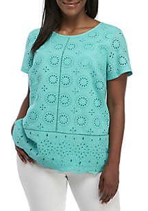 Crown & Ivy™ Plus Size Short Sleeve Eyelet Top