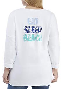Crown & Ivy™ Plus Size Scoop Neck Beach Sweatshirt