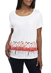 Crown & Ivy™ Plus Size Short Sleeve Flamingo Graphic Top