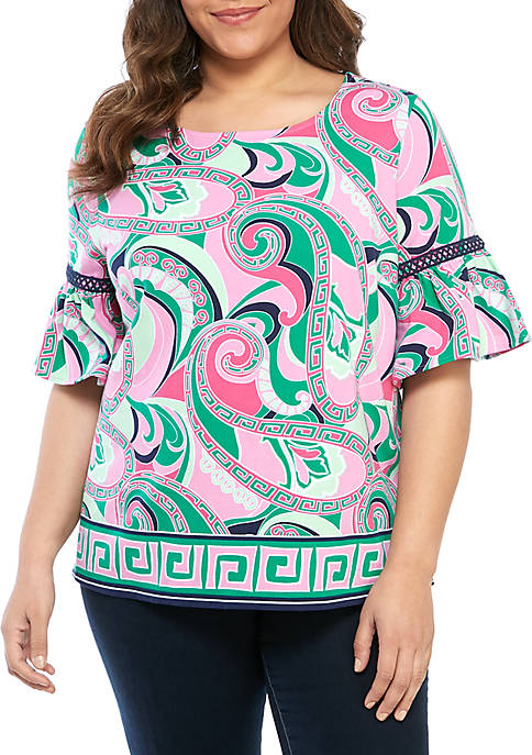 Plus Size Bell Sleeve Printed Top