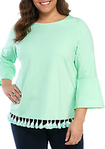 17ae6006d5f Crown   Ivy™. Crown   Ivy™ Plus Size 3 4 Bell Sleeve Tassel Hem Top