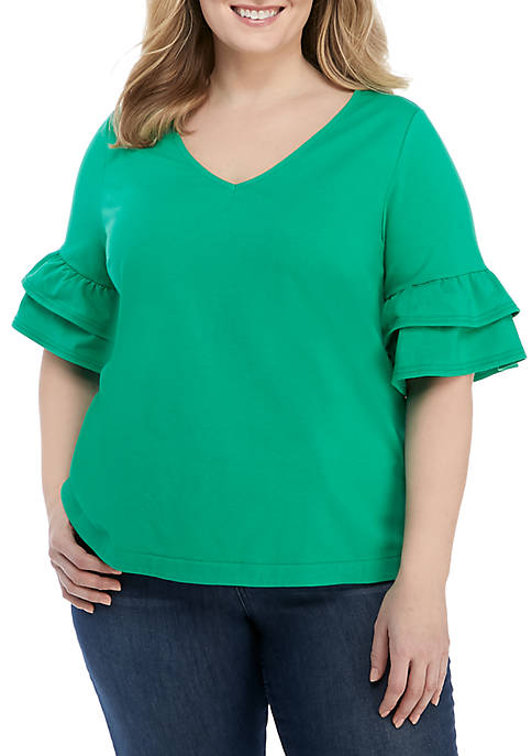 Crown & Ivy™ Plus Size Ruffle Sleeve Top