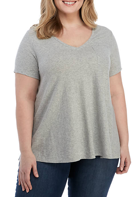 Crown & Ivy™ Plus Size Short Sleeve V-Neck