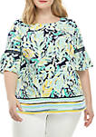 Plus Size Short Bell Sleeve Printed Top