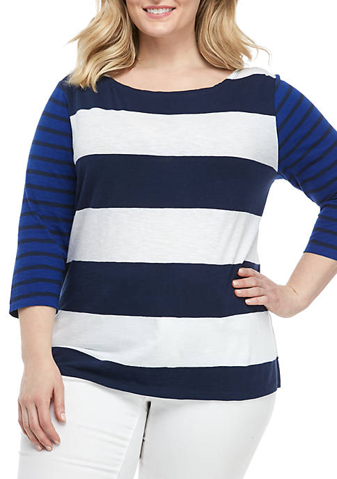 Crown & Ivy™ Plus Size Boat Neck T