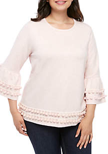Crown & Ivy™ Plus Size Ruffle Tier Bell Sleeve Heather Top