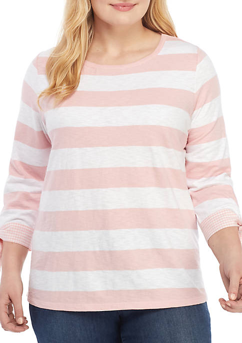Crown & Ivy™ Plus Size Stripe Top