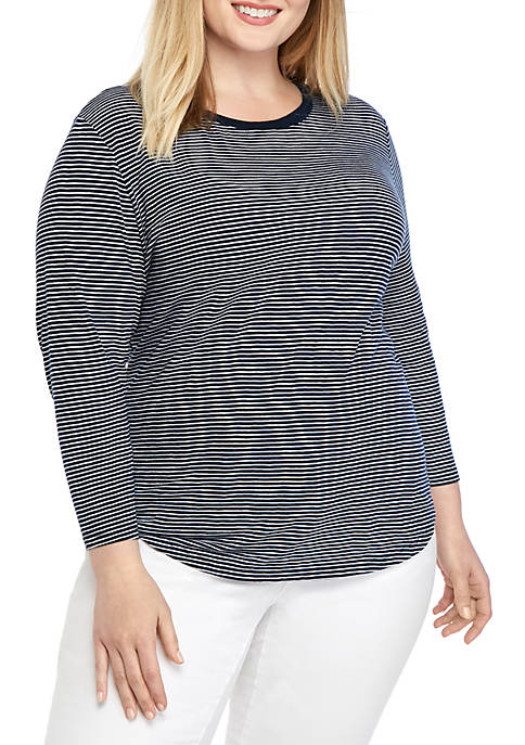 Crown & Ivy™ Plus Size 3/4 Sleeve Crew