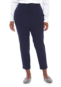Crown & Ivy™ Plus Size Cary Bi Stretch Fly Front Pants