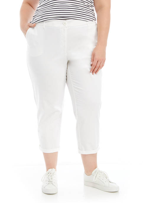 Crown & Ivy™ Plus Size Rolled Crop Chino