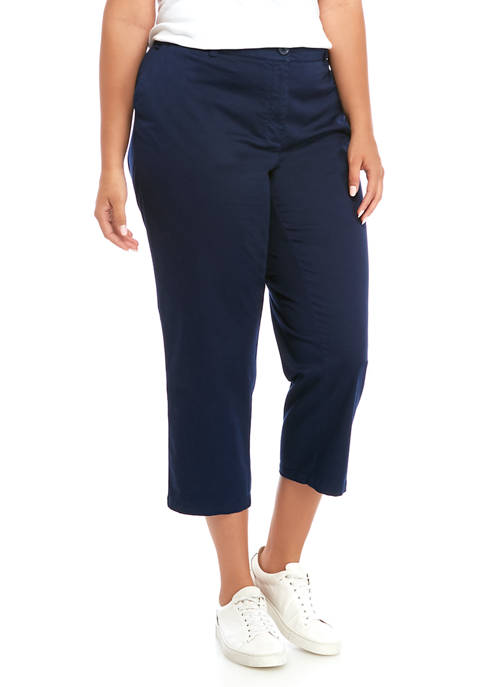 Plus Size Rolled Crop Chino Pants