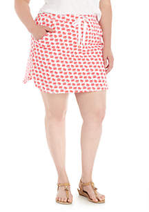 Plus Size Curved Hem Printed Skort
