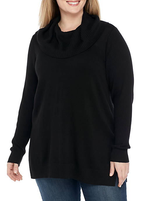 Crown & Ivy™ Plus Size Long Sleeve Ribbed