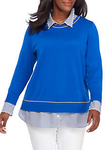 Plus Size Piped 2Fer Sweater