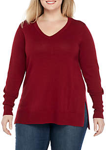 Plus Size Long Sleeve V-Neck Solid Sweater