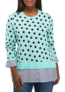 Plus Size Ruffle Neck 2Fer Yarndye Sweater
