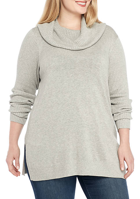 Crown & Ivy™ Plus Size Long Sleeve Cowl