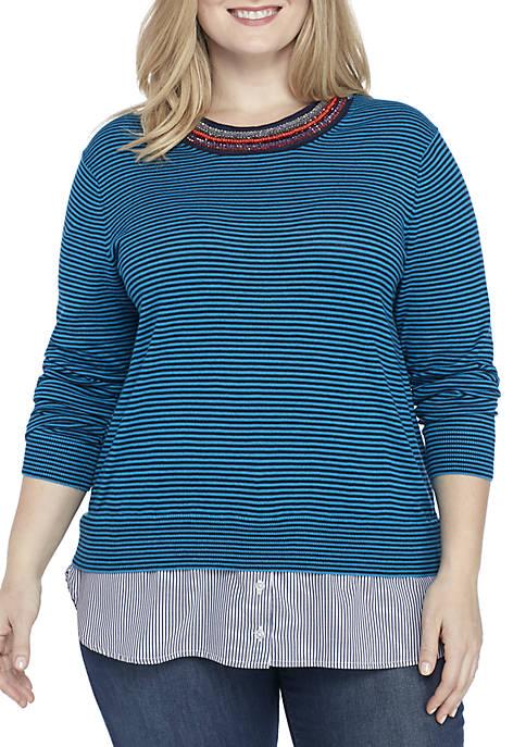 Plus Size Long Sleeve Embellished Neck 2Fer