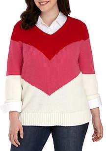 Crown & Ivy™ Plus Size Three-Quarter Sleeve Chevron V-Neck Sweater