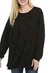 Plus Size Long Sleeve Pom Sweater