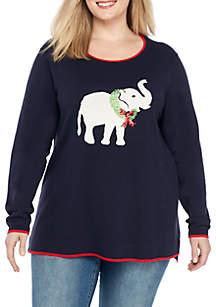 Plus Size Long Sleeve Intarsia Sweater
