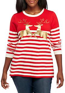Plus Size Long Sleeve Striped Deer Sweater