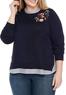 6a79504ea3e64 ... Crown   Ivy™ Plus Size Embellished 2fer Sweater