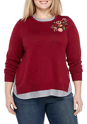 Crown   Ivy™ Plus Size Embellished 2fer Sweater ... b3a38ad45