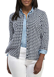 Crown & Ivy™ Plus Size Gingham Print Cardigan