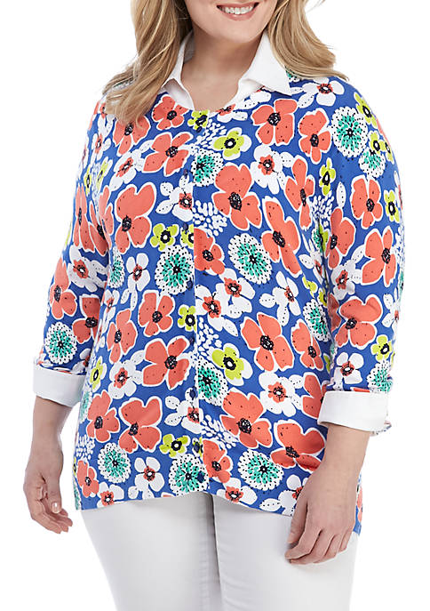 Plus Size Long Sleeve Print Cardigan