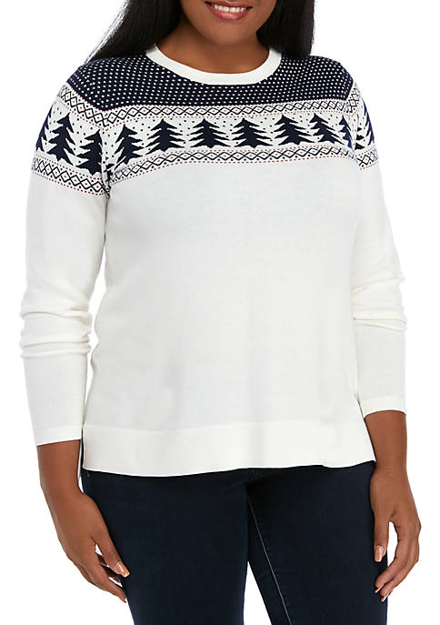 Crown & Ivy™ Plus Size Long Sleeve Intarsia