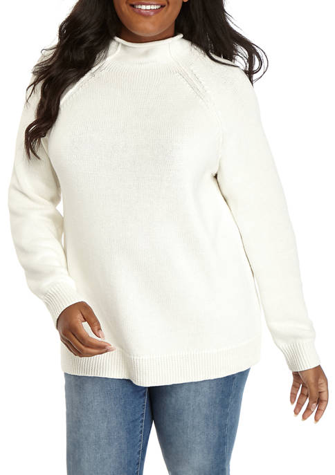 Plus Size Long Sleeve Heart Patch Sweater