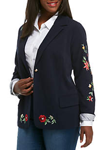 Plus Size Long Sleeve Embroidered Blazer