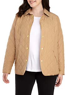 Plus Size Long Sleeve Quilted Jacket