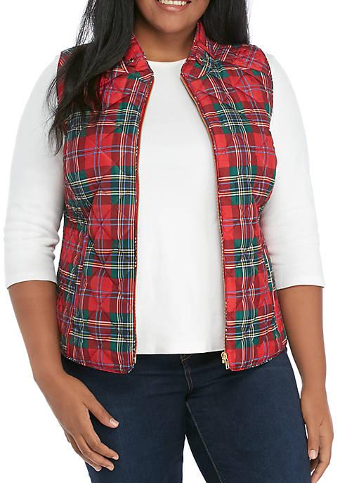 Crown & Ivy™ Plus Size Printed Quilt Vest