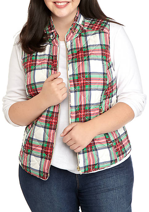 Plus Size Sleeveless Quilted Vest