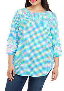 Crown & Ivy™ Plus Size 3/4 Embellished Sleeve Gingham Top