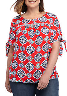 94bba044e02eec ... Crown & Ivy™ Plus Size Short Bow Sleeve Printed Top
