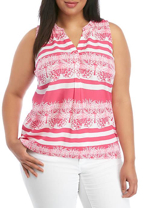 Crown & Ivy™ Plus Size Sleeveless Y Neck