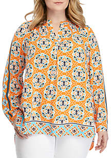 Crown & Ivy™ Plus Size Long Sleeve Tunic Peasant Top