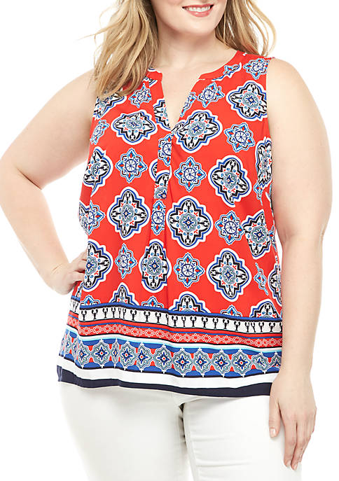 Crown & Ivy™ Plus Size Sleeveless Y Neck