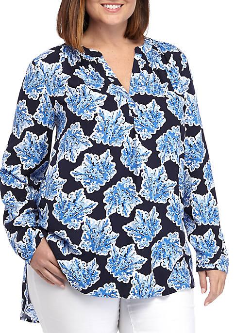 Crown & Ivy™ Plus Size Printed Peasant Tunic