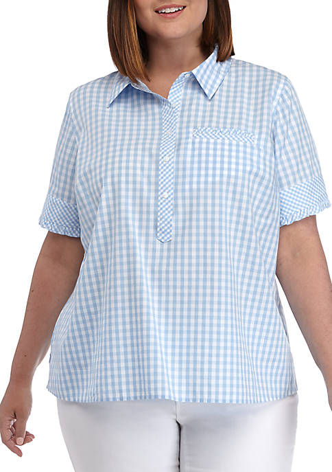 Crown & Ivy™ Plus Size Short Sleeve Camp