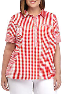 Crown & Ivy™ Plus Size Short Sleeve Camp Shirt