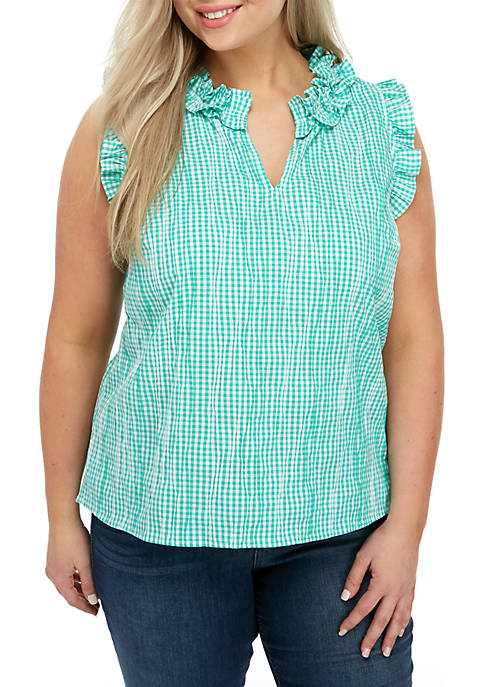 Crown & Ivy™ Plus Size Sleeveless Ruffle Top