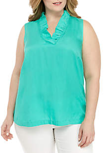 Crown & Ivy™ Plus Size Sleeveless Ruffle Neck Top